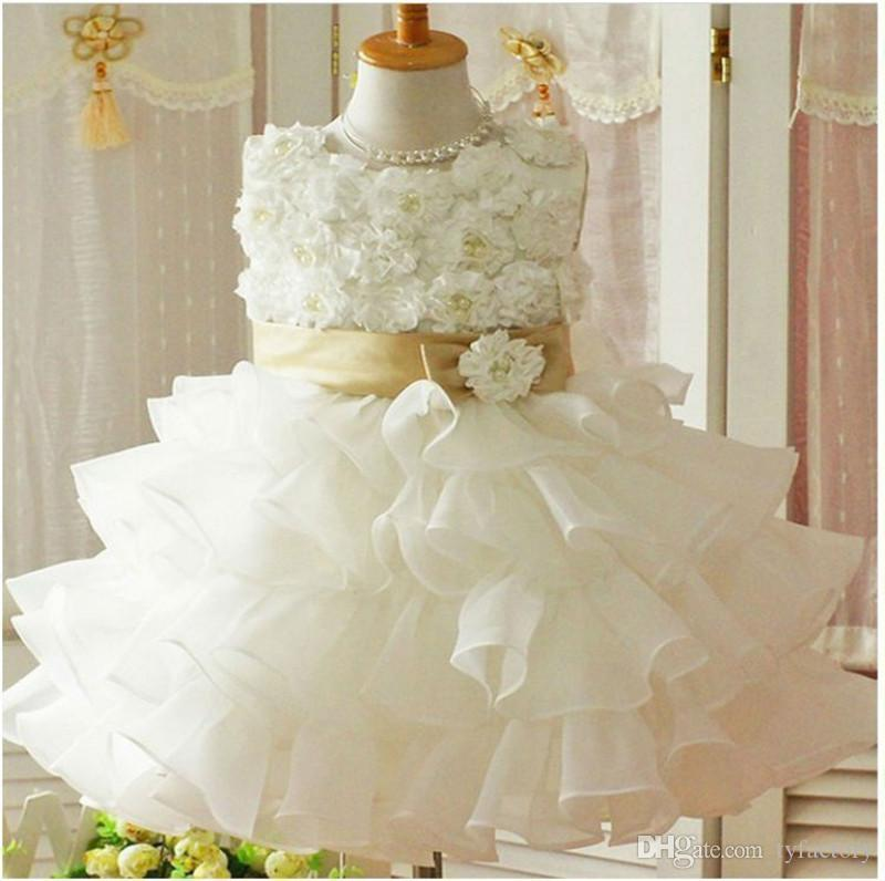 Cute Flower Girl Dress kid wedding party tutu Ruffle Sash lace solid white formal dress outfit Chiffon Clothes Princess dress for girl 4-8Y