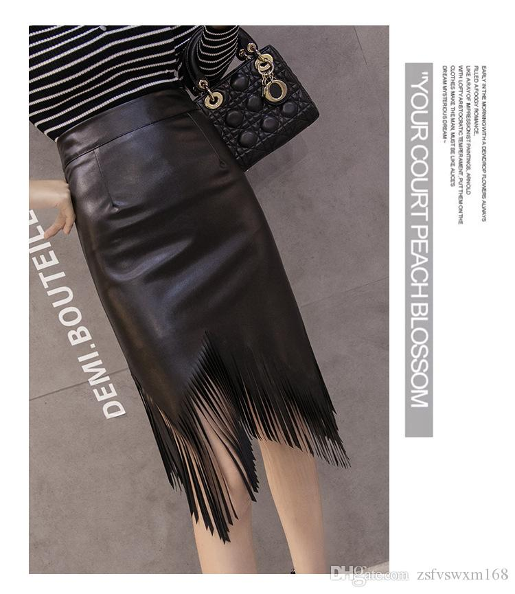 Fall and winter stitching tassel package hip skirt skirt black sexy soft skirt pu leather