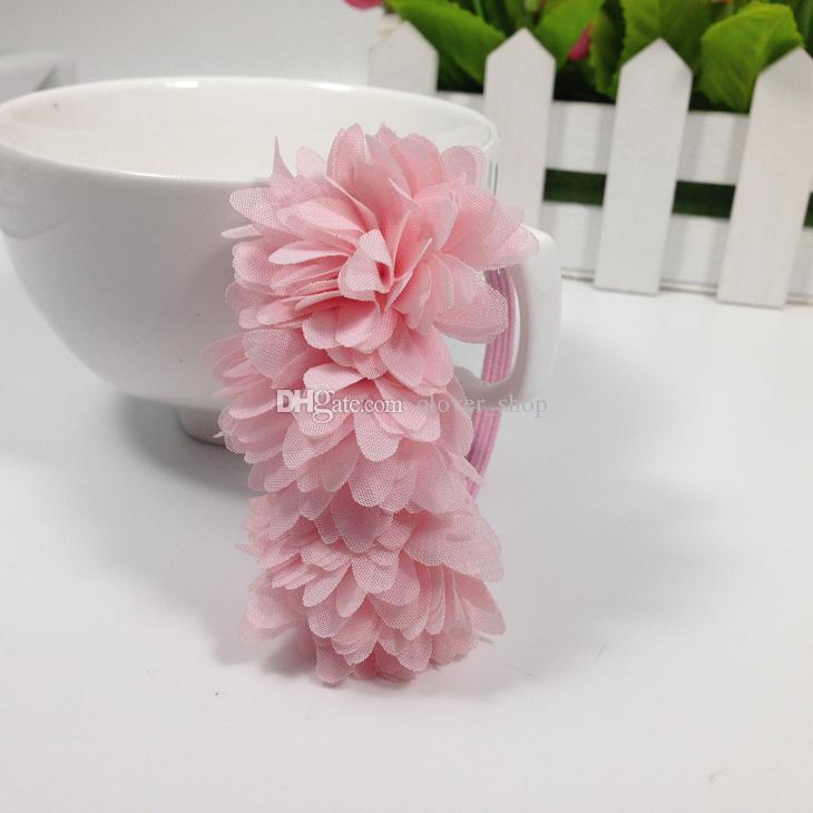 Flores de gasa Niños Niñas bebés Sombreros Accesorios para el cabello Bandas de goma Barrettes Chica Arco Cuerdas para el cabello Boutique al por mayor