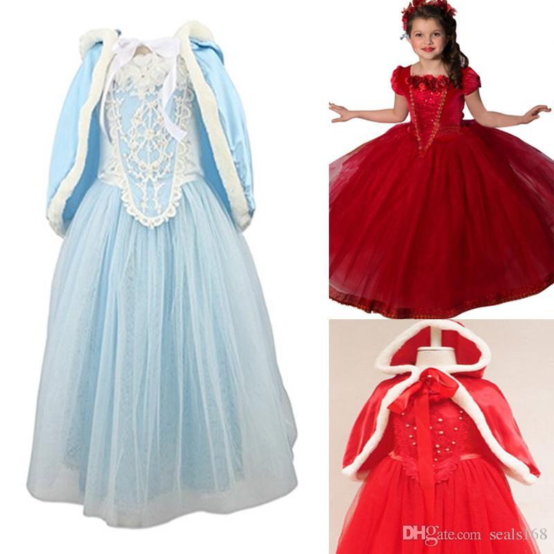 a255a44993b0 Prinzessin Kleid Mädchen Kostüm Cosplay Phantasie Party Hochzeit Kleid mit  Pelzbesatz Cape Kinder Halloween Kleidung Blau und Rot HH7-193