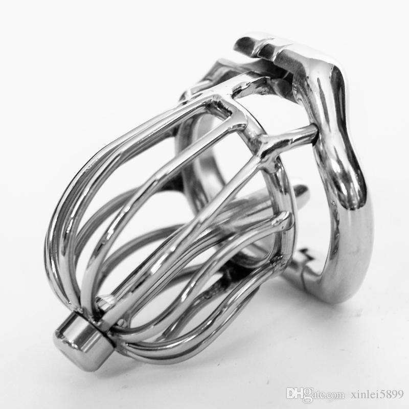 Stealth Lock Chastity Cage Dispositivo de castidad masculina de acero inoxidable Juguetes sexuales para hombres Pene Lock Cock Ring