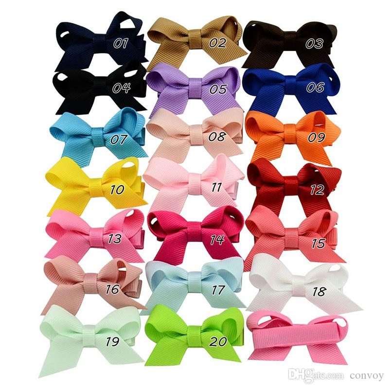 Baby Girls Bow Barrettes Clips Hairpins Infant Grosgrain Ribbon Bows Hairgrips Children Solid Wrapped Safety Hair Clip Kids Hair Accessories KFJ109