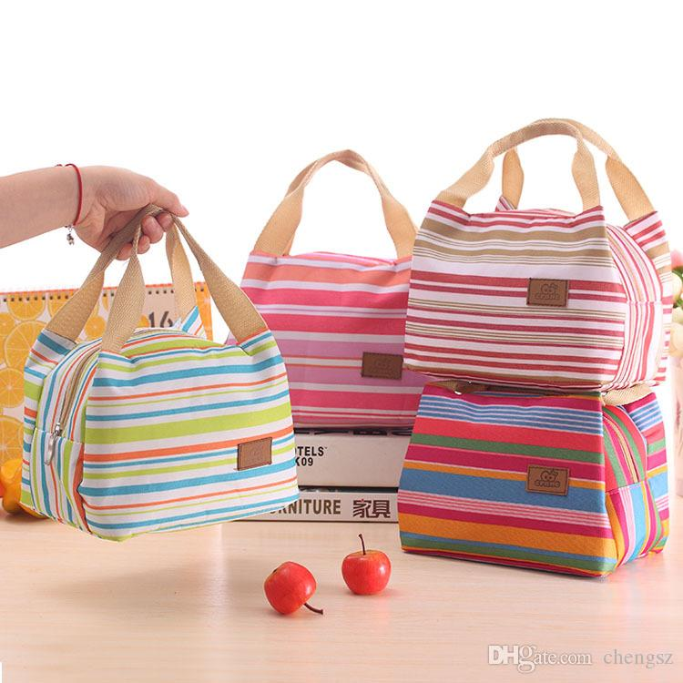 100Pcs Isolé thermiquement Portable Cool Canvas Stripe Lunch Totes Sac Carry Case pique-nique sac à lunch sac à glissière boite à lunch