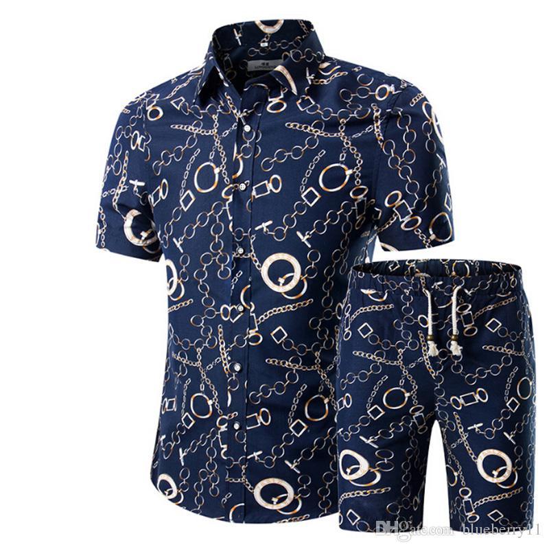 Hommes Chemises + Shorts Set New Summer Casual Imprimé Hawaïen Chemise Homme Court Mâle Impression Robe Costume Ensembles Plus La Taille