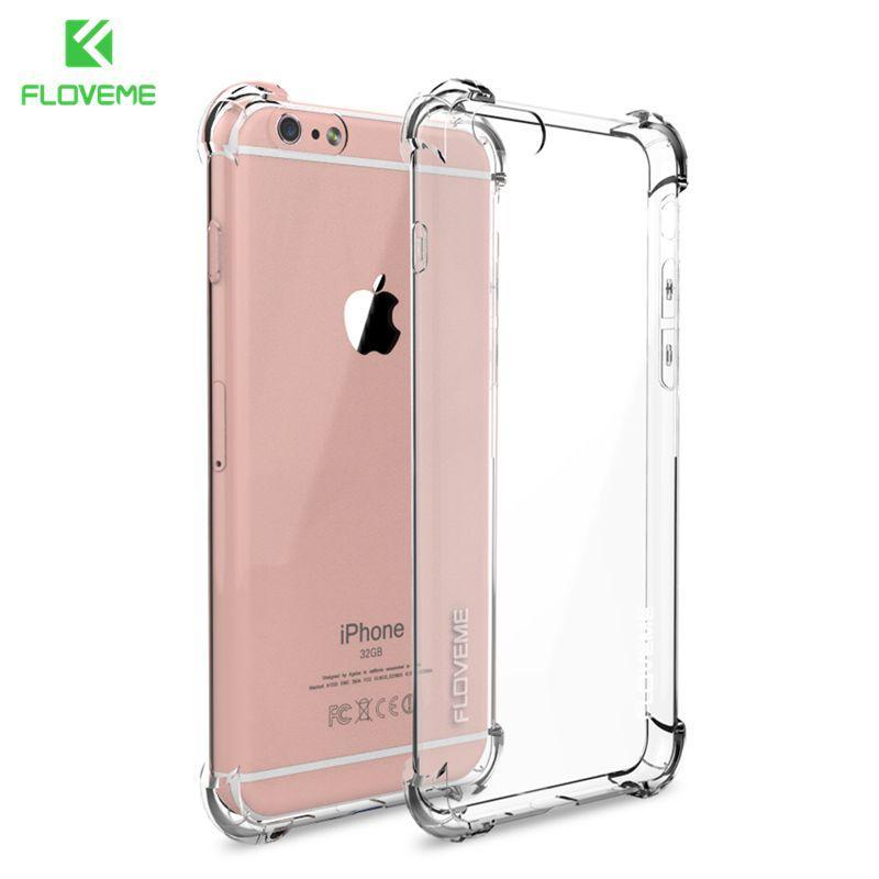 e45a618eb Compre Anti Knock Case Para Iphone 6 6s Plus Case Silicone Para Iphone 7 7 Plus  Case Tpu Transparente Limpar Capa Completa Protetora De Fincek007