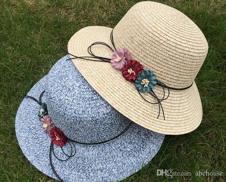 2017 neue frauen strohhut mode sonnenschirm strand hüte bowknot sonnenhut caps damen breiter krempe hüte stroh sun cap 24 stücke freies verschiffen