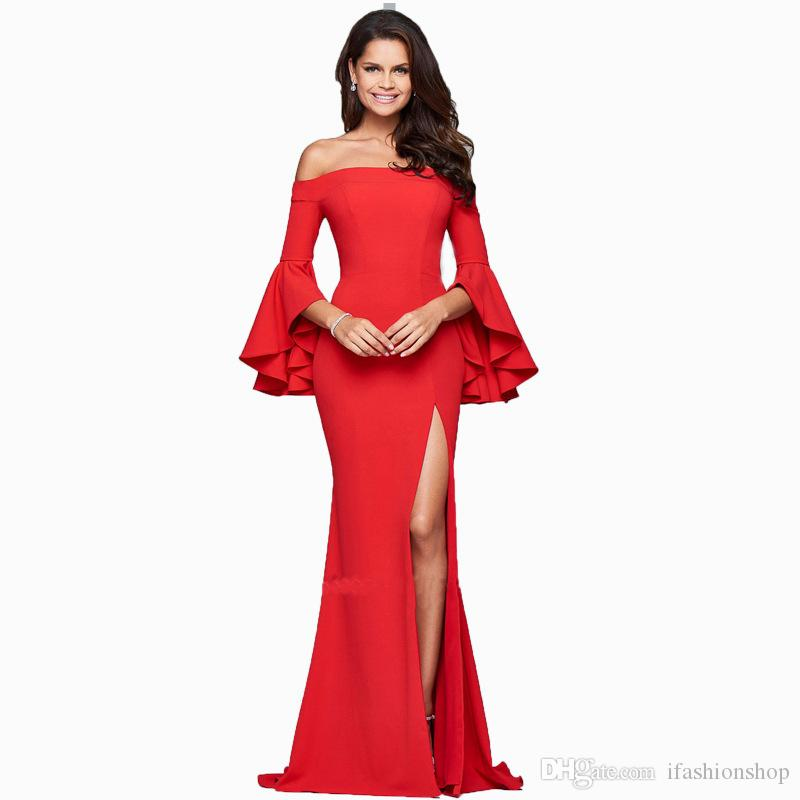 f47657f64db Off The Shoulder Slash Neck Flare Sleeve Sexy Split Red Maxi Dress Hot Sale  Casual Dresses D720 Sundress Gold Dress From Ifashionshop