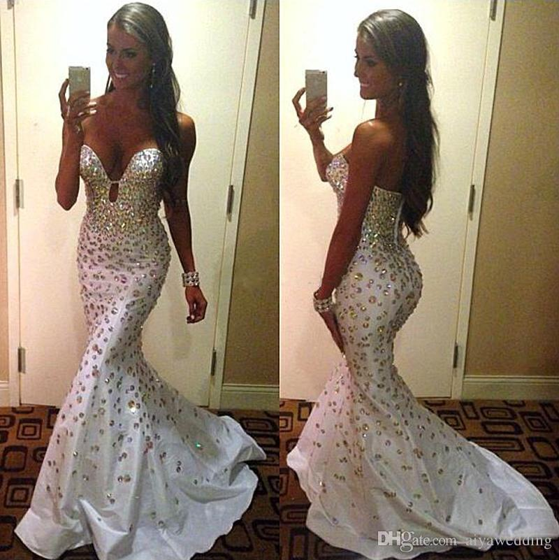 Sirena Cristales Vestidos de noche de tafetán Blanco Sexy Sweetheart Sweep Train Gorgeous Custom Made Formal Pageant Prom Gowns 2019
