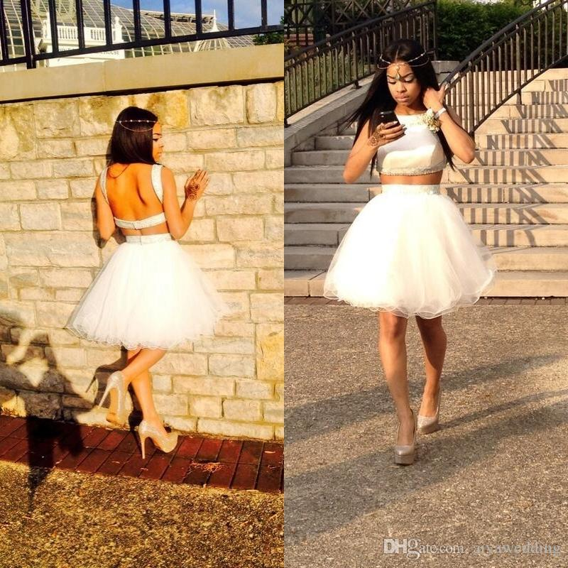 2018 Cheap Two Piece Black Girl Prom Dresses Under 100 Short Ivory