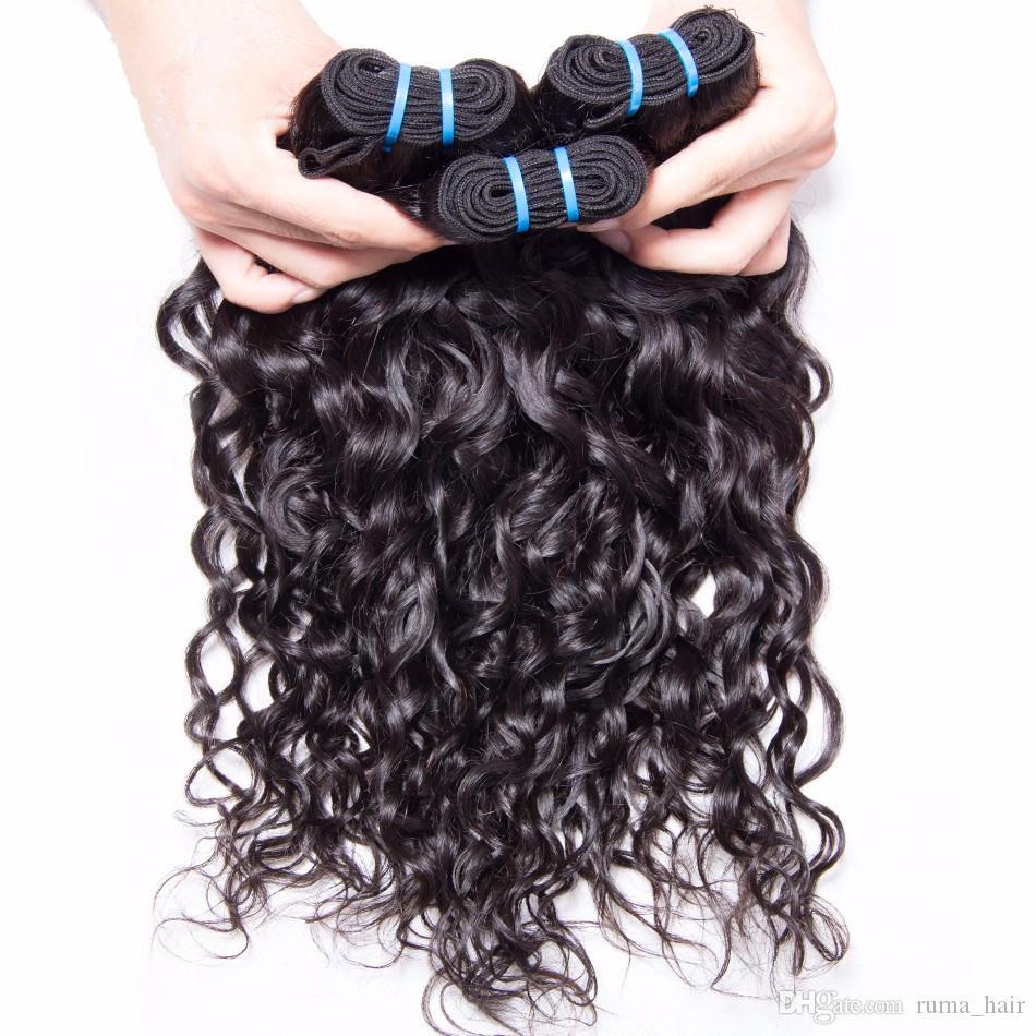 Su Dalga İnsan Saç Paketler Dantel Kapatma Ile Yüksek Kalite Perulu Bakire Saç Atkı Ile 4 * 4 Üst Kapatma Islak Ve Dalgalı Saç