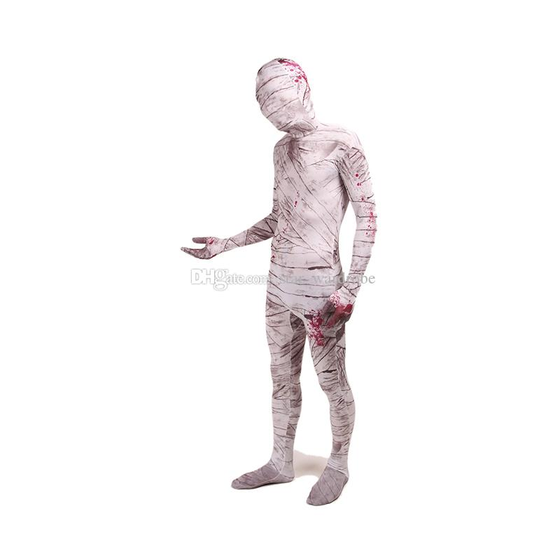 Halloween Mummy Cosplay Costumes Lycra Spandex Full Body Zentai Catsuit For Unisex