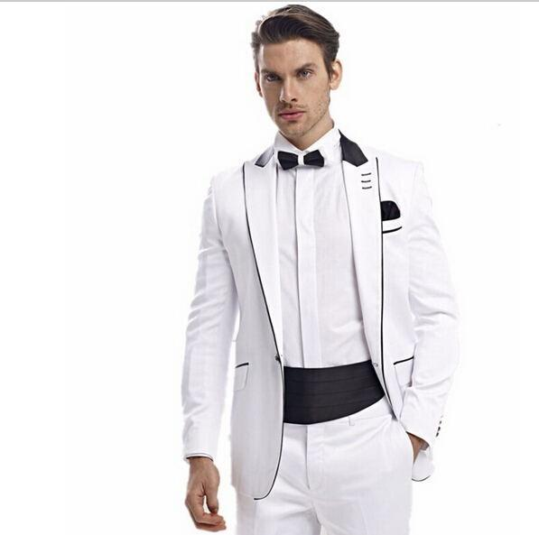 Wholesale- New Customize Men Suits White One Buttons Men Fashion ...