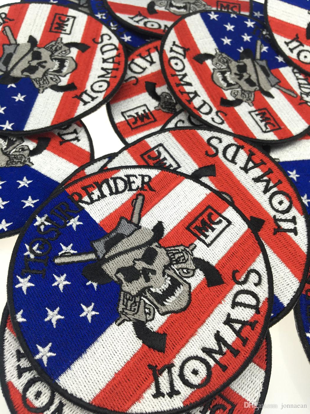 Famous No Surrender Nomads Embroidered Iron On Patch Iron On Sew On Motorcyble Club Badge MC Biker Patch Wholesale