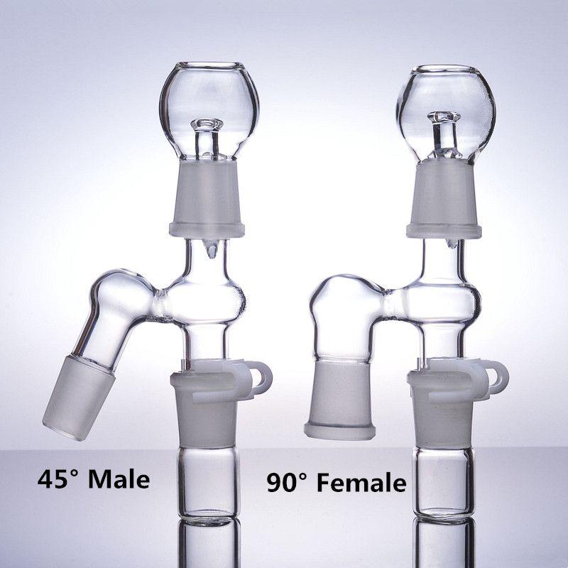 45° 90° бонг аксессуары золоуловитель адаптер 14 мм мужской 18 мм женский нефтяной вышки стекла водопроводные трубы курительные чаши 18,8 мм