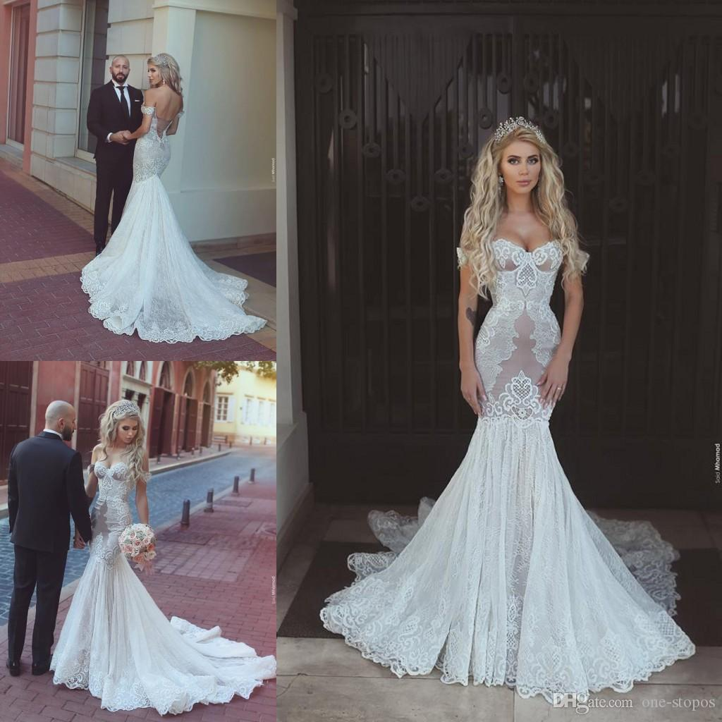 Arabic Sexy Full Lace Mermaid Wedding Dresses Off The Shoulder