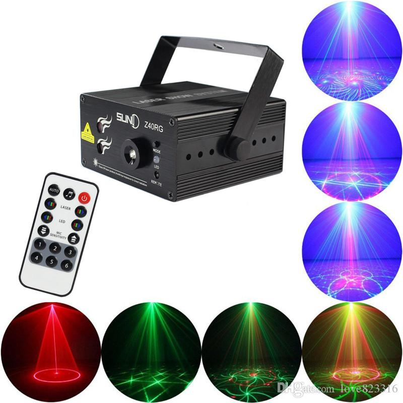 New 3 Lens 40 Patterns Club Bar RGB Laser Blue LED Stage Lighting Dj Home Party Show Professional Projector Light Disco