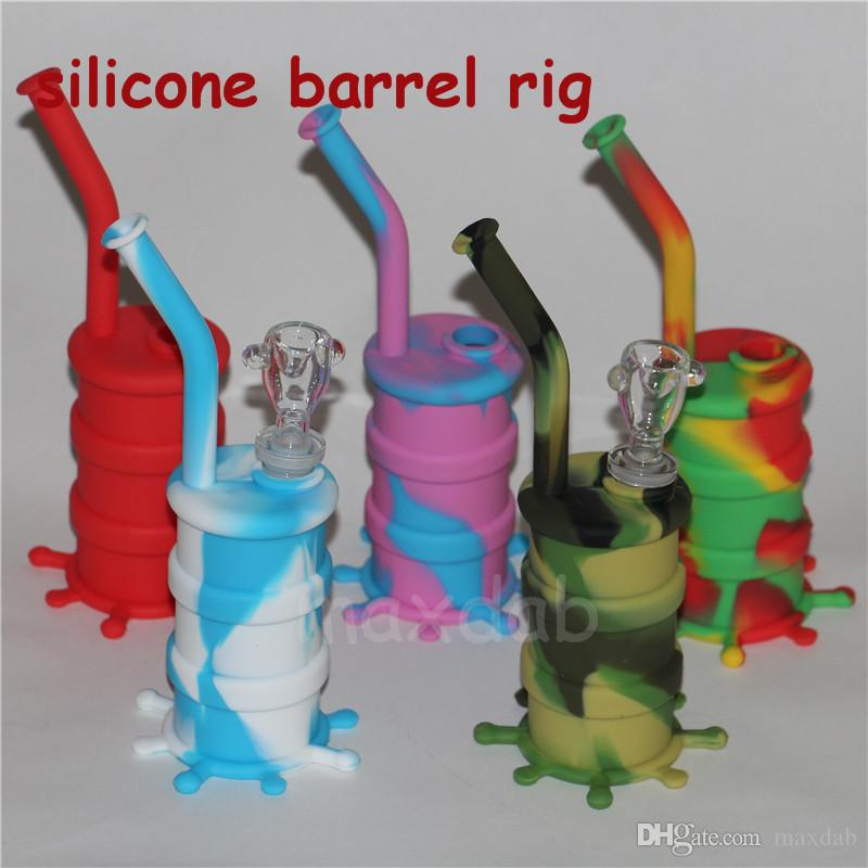 Cheap newest silicone Water Pipes silicone bongs glass water pipe oil rig good quality
