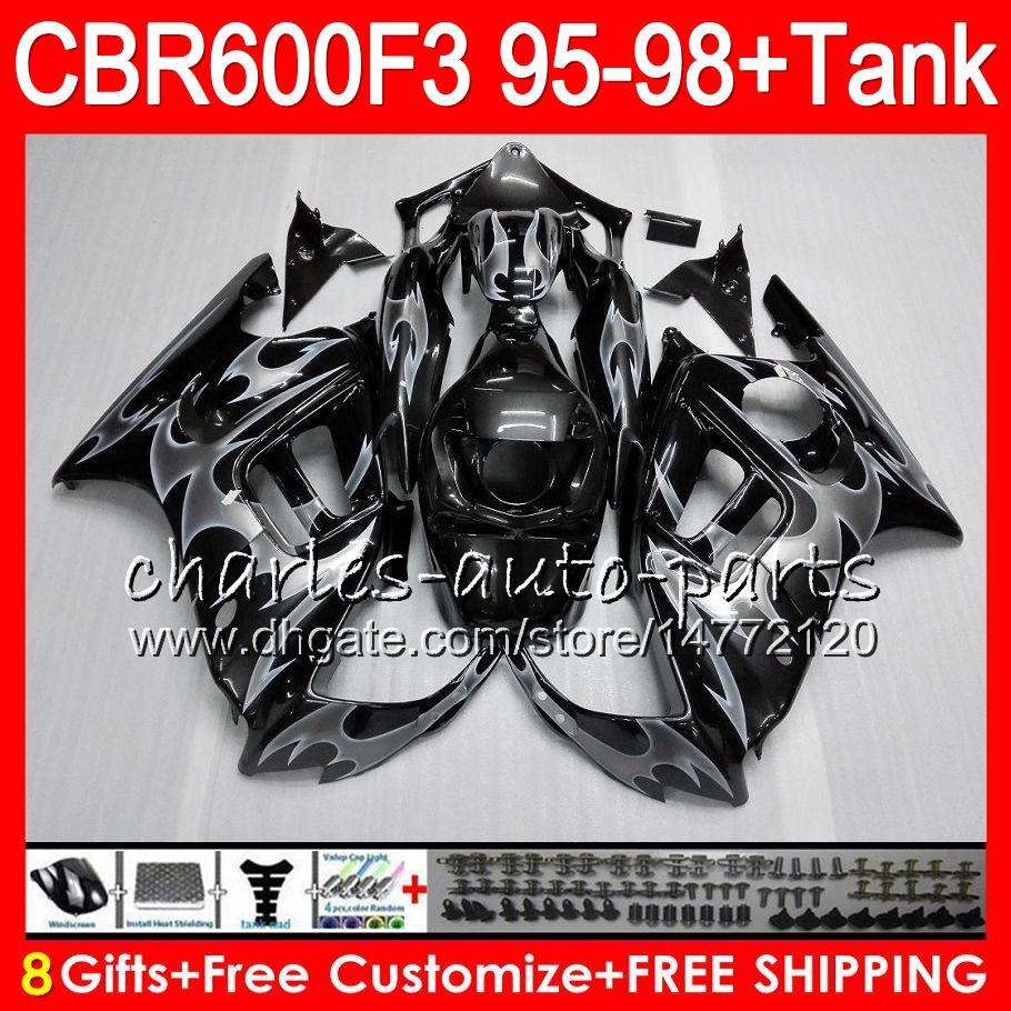 8 Gifts For HONDA CBR600F3 95 96 97 98 CBR600RR FS 2HM9 silver flames CBR600 F3 600F3 CBR 600 F3 1995 1996 1997 1998 black Fairing