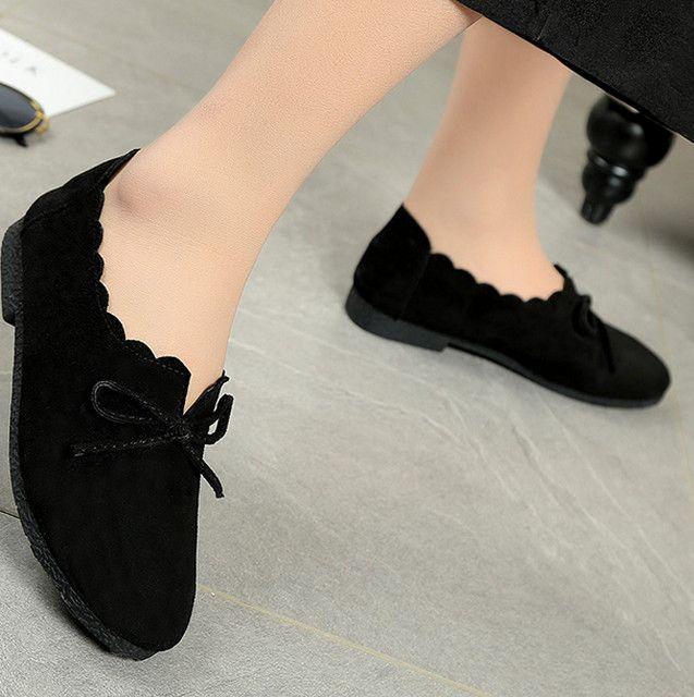 v2017 neue flache einzelne Schuhe weiblichen Frühling Studenten Freizeit Spitze runden Kopf Loafers koreanische Retro Bow flache Schuhe für Frauen