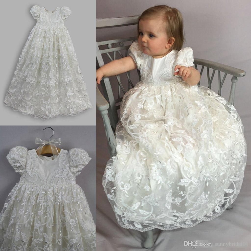 Luxury Full Lace 2017 Baby Christening Gowns With Sleeve Jewel Neck Baptism  Dresses Long Flower Girl Formal Communication Party Gowns Cheap 2016 Wedding  ... 57c474568635