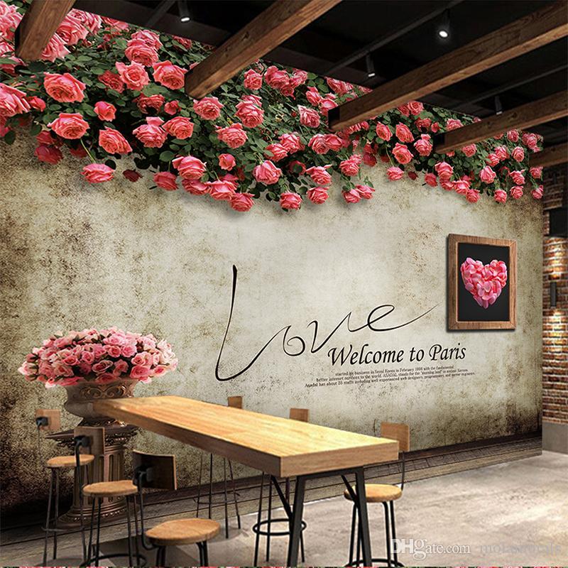 Großhandel Foto 3d Tapete Europäischen Retro Nostalgischen Rose Tv Wand  Cafe Bar Restaurant Dekoration Malerei 3d Wandbilder Wallpaper Für Wände  Von ...