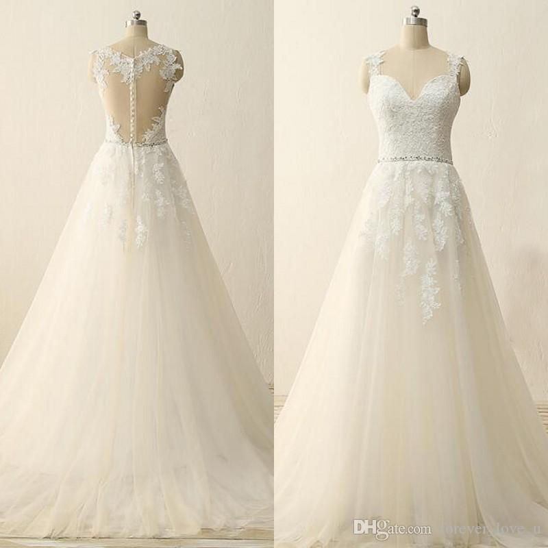 Discount Vintage A Line Wedding Dress Sweehteart Sleeveless Sheer ...