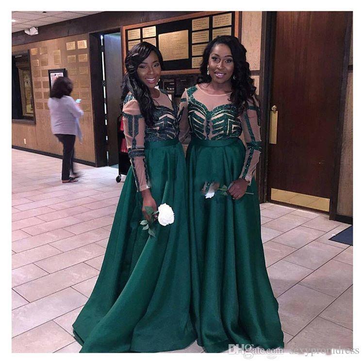 Nigeria vert foncé robes de demoiselle d'honneur pour le mariage 2017, plus la taille manches longues demoiselle d'honneur robes femmes robes de soirée formelles faites sur mesure