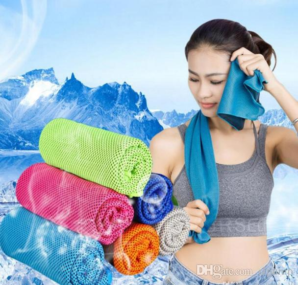 90*30cm Double Layer Ice Cooling Towel Cool Summer Cold Sports Towels Instant Cool Dry Scarf Soft Breathable Ice Belt Towel for Adult Kids
