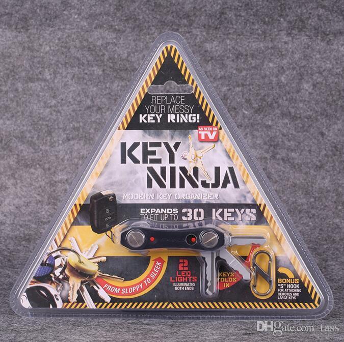 Key Ninja Modern KEY Organize con 30 Llaves Dual LED Lights Bottle Opener Kits Herramienta Outdoor EDC Multi Function Keychain Clip