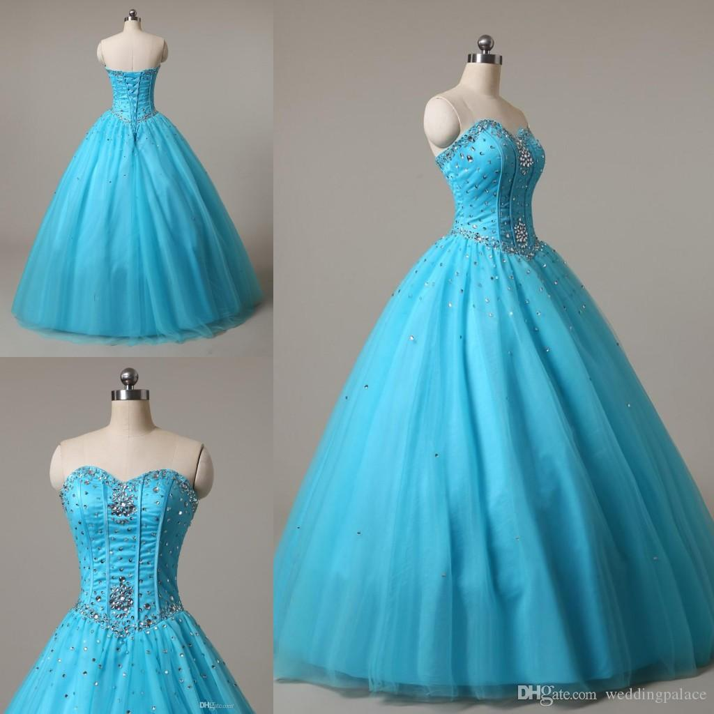 Latest Elegant Sweetheart Prom Dresses Beaded Tulle Sweet 16 Dresses ...