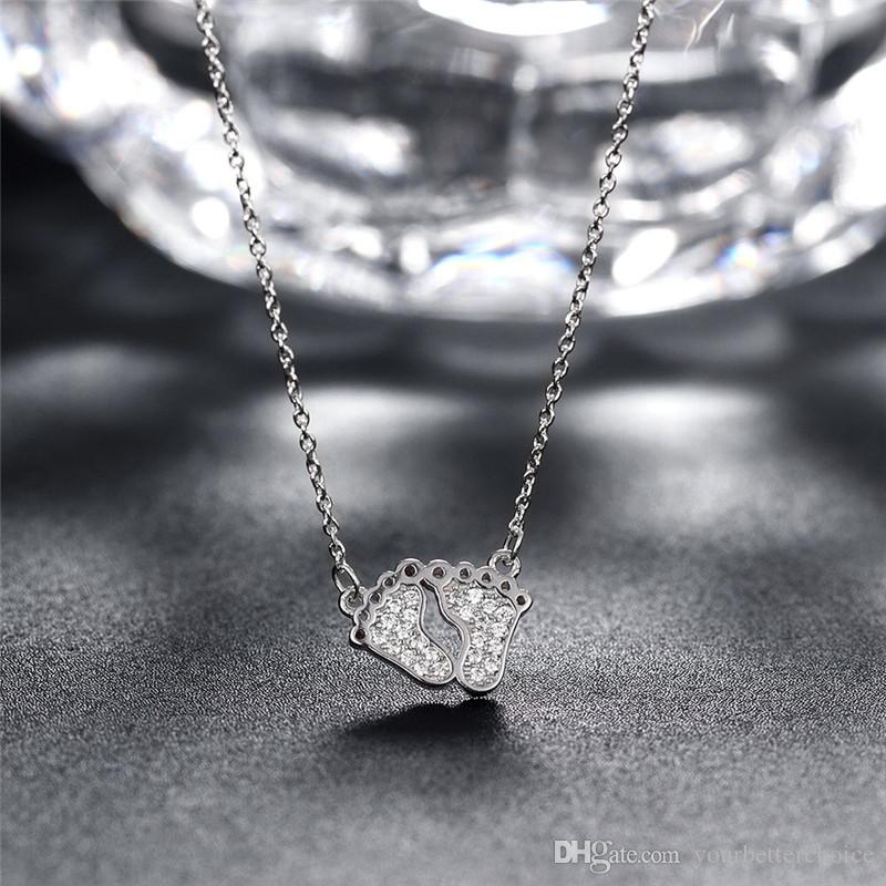 Sparkling Pave Setting Baby's Feet Pendant Link Chain 925 Sterling Silver Necklace for Gift