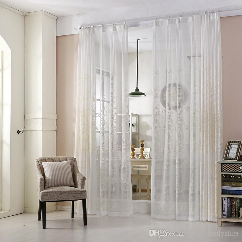 2018 Modern White Curtains Clearance Pastoral Curtain Blinds Embroidery Living Room Bedroom French Window Drapes 42w 50w 72w 1 Panel From