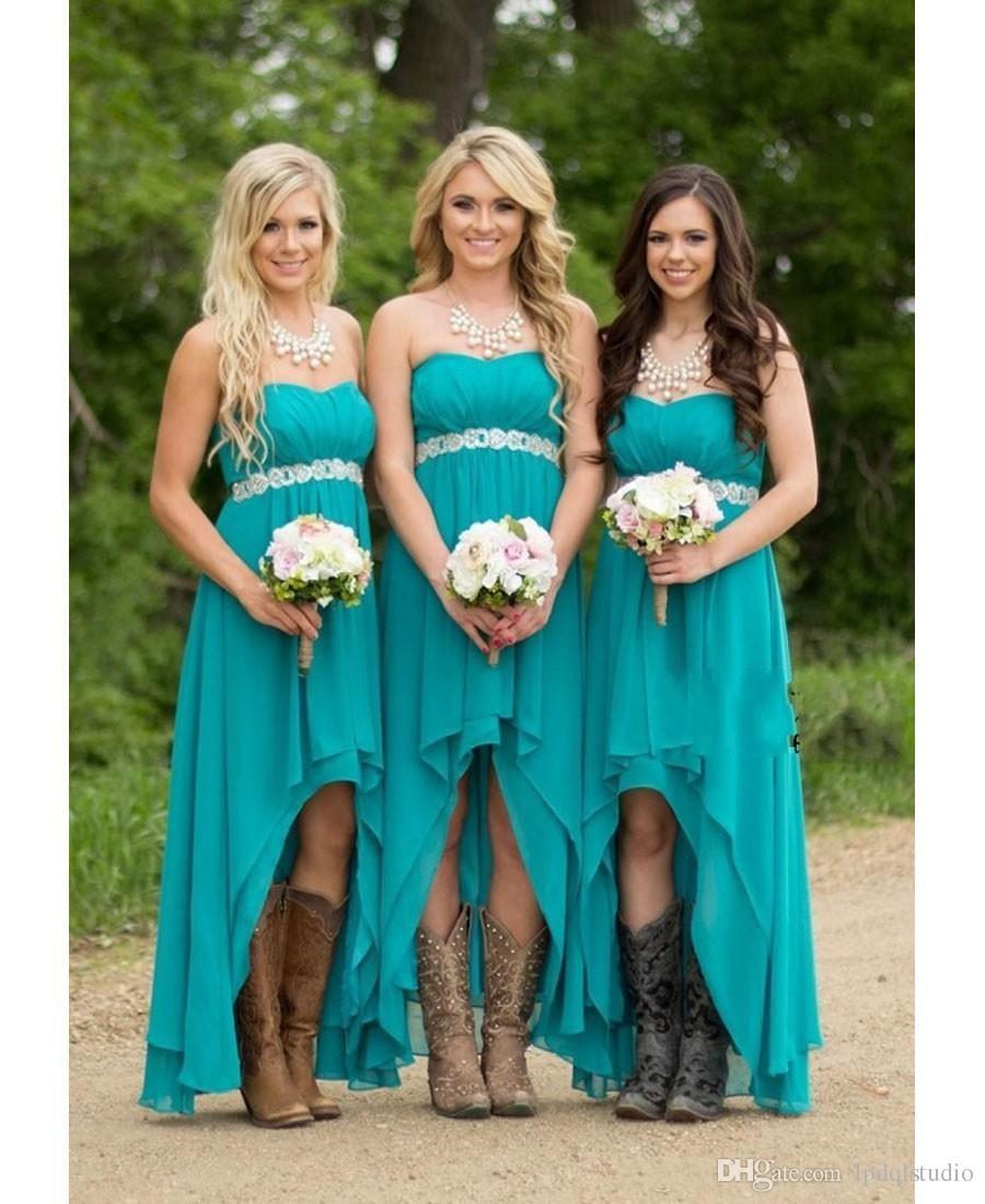 Aqua azul vestidos de dama de honra longo chiffon frisado vestido de dama de honra meninas faixa oi baixo vestidos de dama de honra sem encosto vestido de festa