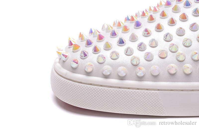 Unisex zapatos casuales para hombre mocasines inferiores rojos clavos de perlas tachonados Genuine Top Brand Luxury Flats zapatillas de deporte de corte bajo zapatos bajos