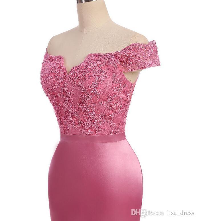 Hot Sale Vestidos de madrinha 2017 Elegant Scoop Off Shoulder Maid of Honor Dresses Mermaid Appliques Chiffon Pink Long Bridesmaid Dresses