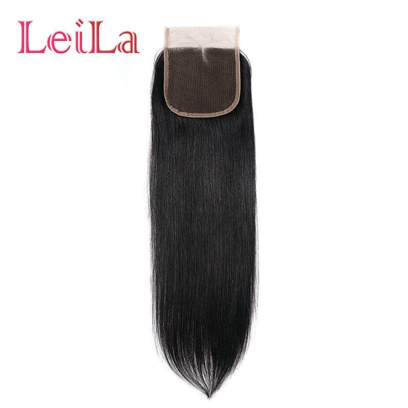 Pelo brasileño recto sedoso 4 Cierre los paquetes con cordón del pelo humano del color natural libre Medio cierre de tres Encaje parte 5 pedazos / porción