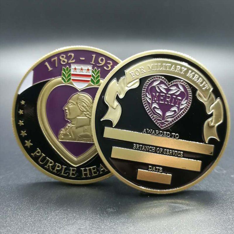 100 шт военные заслуги 1782 - 1932 Пурпурное сердце позолоченные 40 мм Сувенирная монета значок DHL бесплатная доставка