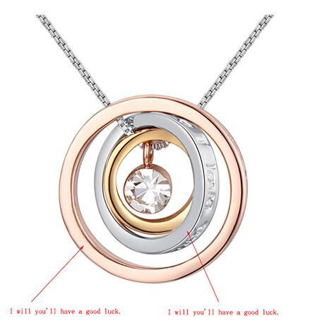 Fashion Lucky Gift, Charm Women Crystal Lucky Circle Pendant, I wish you'll have a good luck