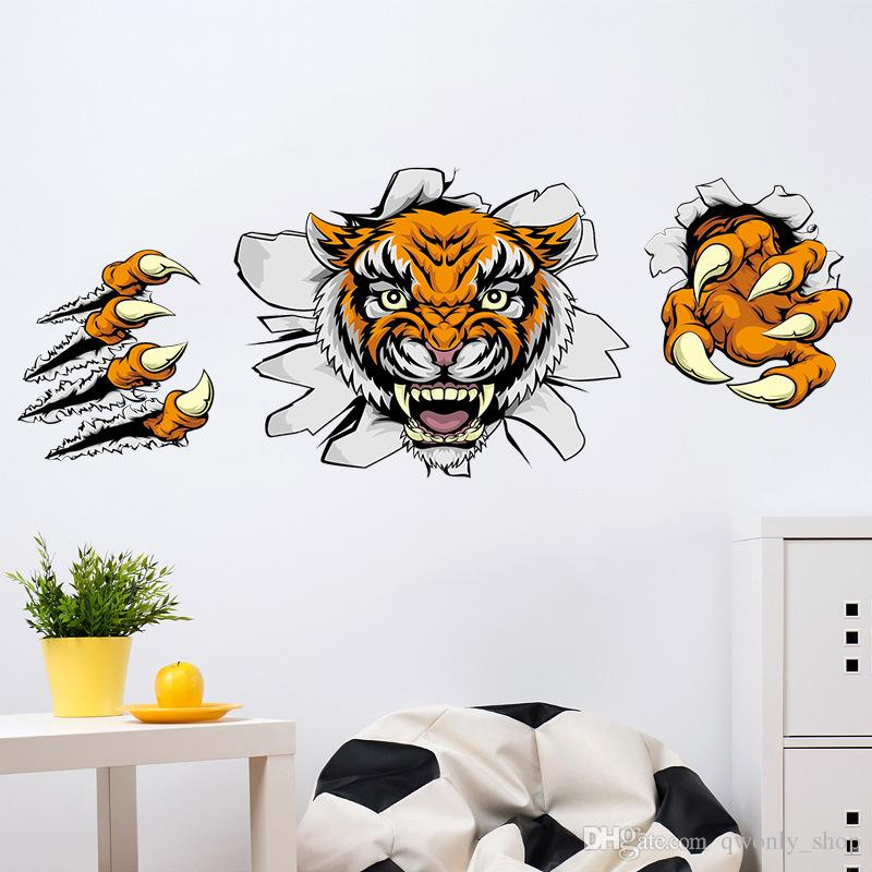 3d tiger animals wall sticker removable wall decals home decor kids