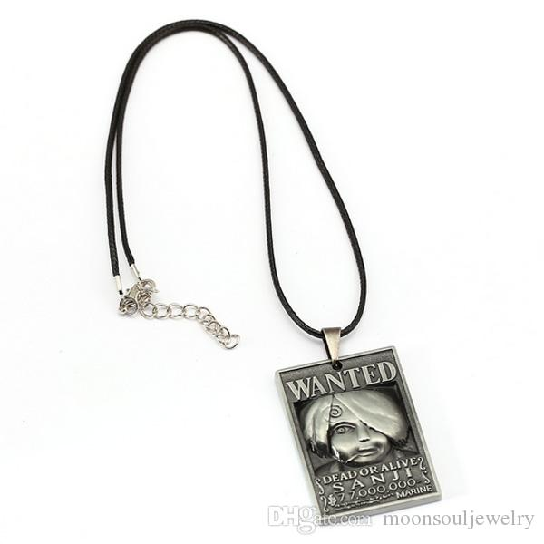 Hot Anime One Piece Pendant Necklace Wanted Necklace Fashion Men 's Leather Pendant Necklace Silver Leather Pendant Necklace