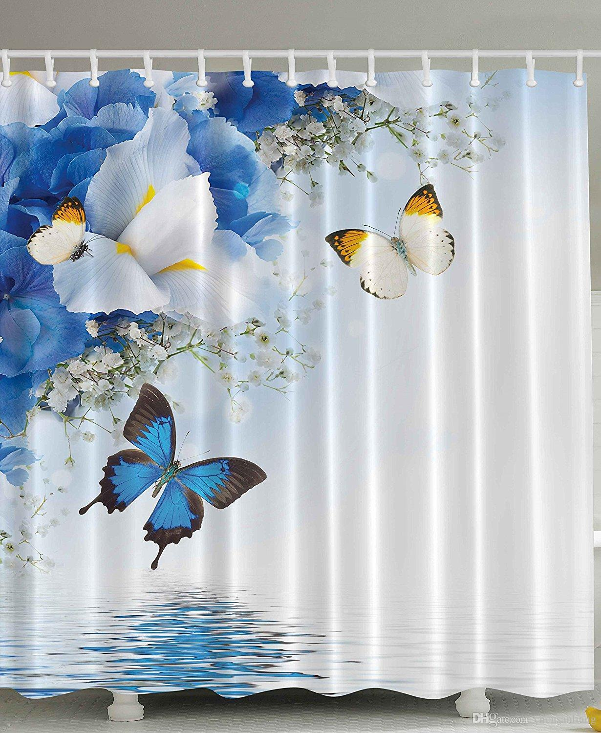 2018 Shower Curtain Blue White Wild Flowers Butterflies Bathroom Polyester Curtains Waterproof Antibacterial With 12 Hooks Bath From