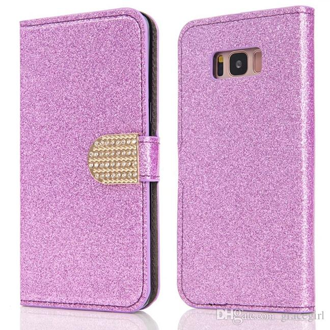 Bling Glitter Wallet Leather Pouch Case For Samsung Galaxy S8 Plus S7 S6 Edge S5 Iphone 7 Plus 6 6S 5 5S SE Sparkle Stand Cards Cover