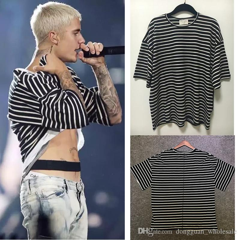 bcaf95ba7 Fear Of God T Shirt Men Women High Qualita Justin Bieber FOG T Shirt Japan  Hip Hop Striped Zebra Fear Of God T Shirts Awesome Shirt Designs Funny  Slogan T ...