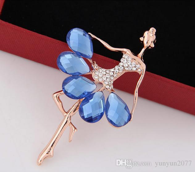 Korean Refinement Fashion Fine Accessories Jewelry Luxury Czech Rhinestones Water Drop Dancers Girl Figure Charm Brooches Pins For Women