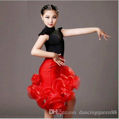 b95174007e8 2019 Sequins Latin Girl Black And Red Children Dance Costumes Suit+Skirt  Sets For Performance Kids Samba Costumes Salsa Dress Fringe From  Dancingqueen88