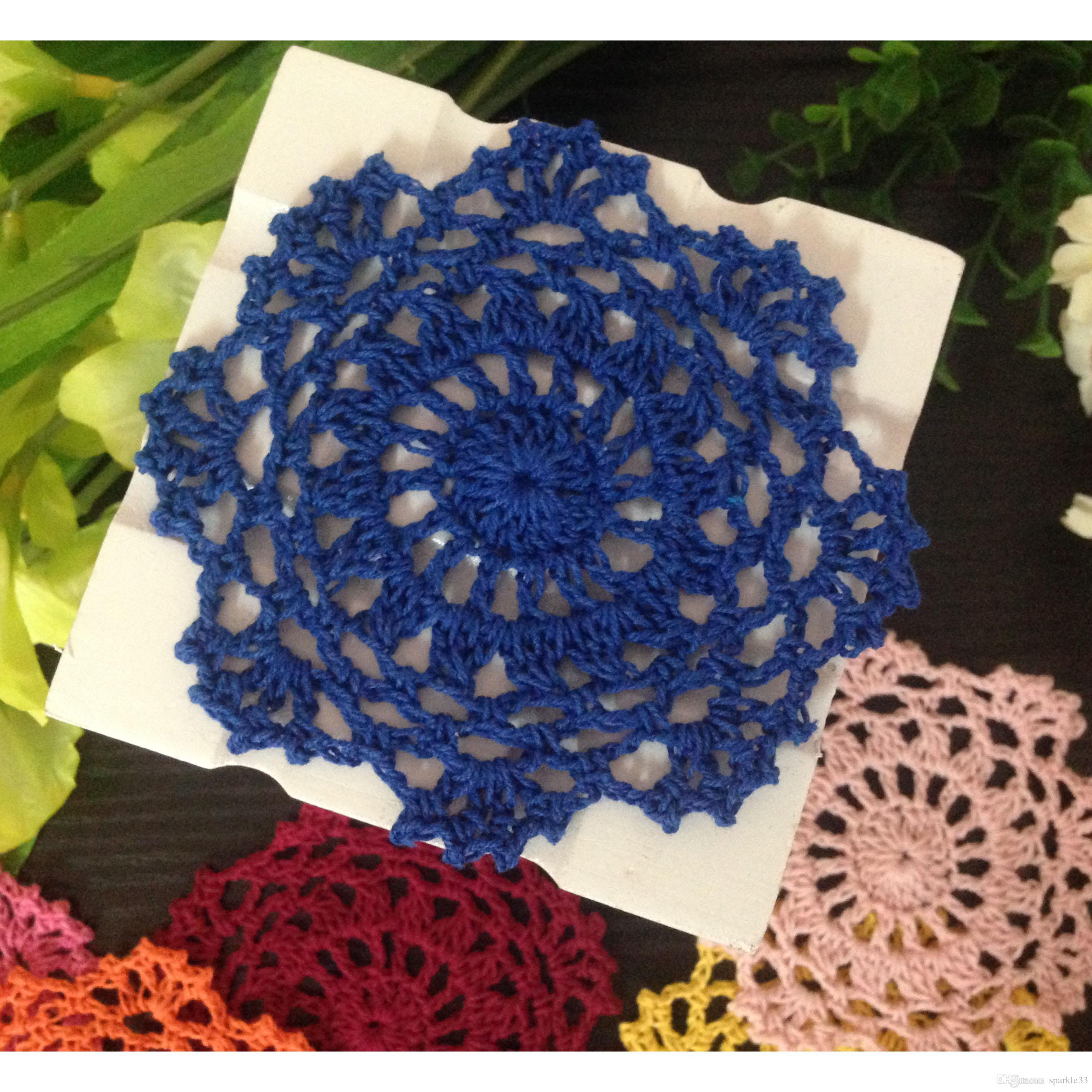 DIY Wholesale Household Handmade Flower Crochet Doilies Round Cup Mat Pad 10cm Coaster Placemats For Wedding Gift
