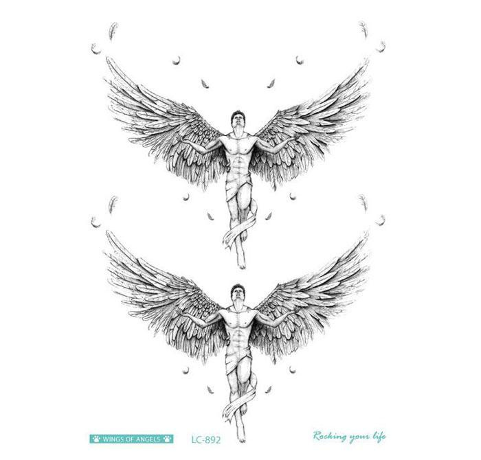 Temporary Big Tattoo 3D Cool Angel Wings Back Tattoo Sticker Waterproof Large Fake Tattoo Stickers for Men