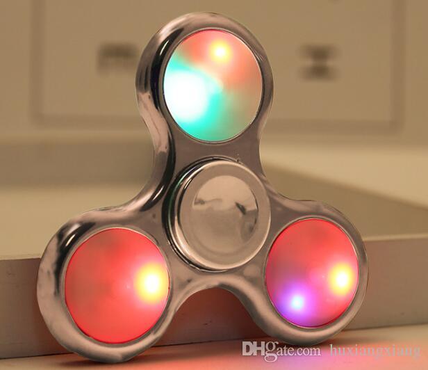 2017 Factory Novelty Toy Colors Fidget Spinner Hand LED Spinner Toy finger skateboard Non3D printed Fidget Focus plating W17JS513