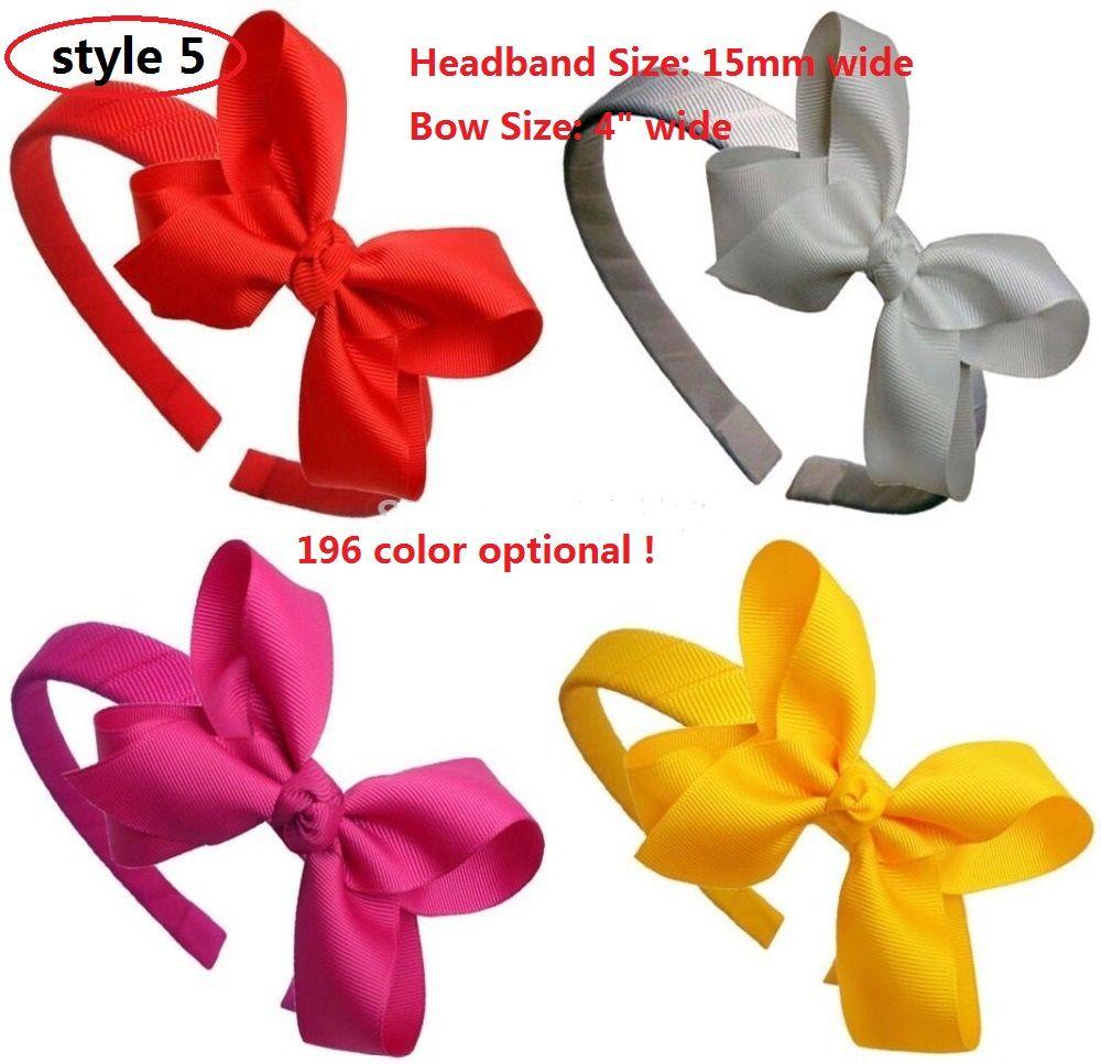 10 Stil tillgänglig Tjej Solid Grosgrain Bow Head Band, Bow Hårband Baby Head Band Plast med tänder Hårtillbehör 30st