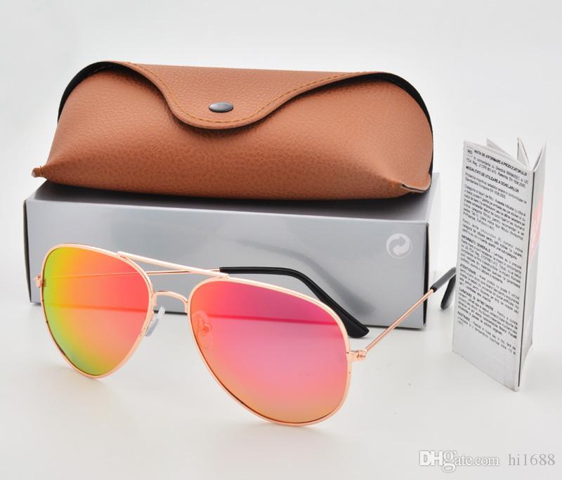 Suporte cor mista Marca Designer Piloto Polarizada Óculos De Sol Das Mulheres Dos Homens Óculos de Sol Óculos de Armação De Metal Lente Polaroid com caixa Caixa Marrom